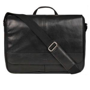WILSONS LEATHER MESSENGER BAG W/ FAUX-LEATHER TRIM